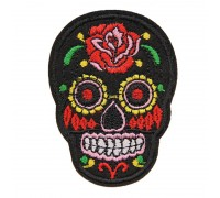 Antsiuvas medžiaginis Skull Black; 7.5x5.5cm