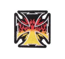 Antsiuvas medžiaginis Fire Cross; 9x9cm