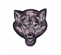 Antsiuvas medžiaginis Wolf; 10x9.5cm
