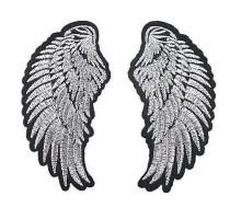 Antsiuvas medžiaginis Sidabriniai sparnai, 4.7x9.4cm