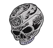 Antsiuvas medžiaginis Balta kaukolė, 10x9cm