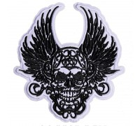 Antsiuvas medžiaginis Skull Wings, 14x13cm