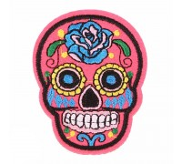 Antsiuvas medžiaginis Hot Pink Skull, 7.5x5.5cm
