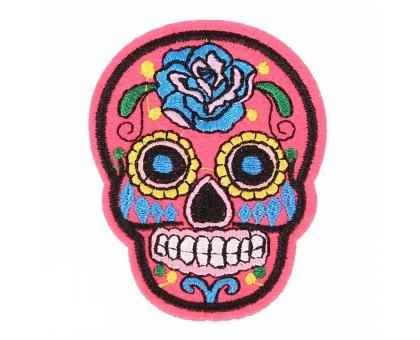 Antsiuvas medžiaginis Skull Hot Pink; 7.5x5.5cm