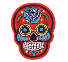 Antsiuvas medžiaginis Red Skull, 7.5x5.5cm