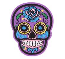 Antsiuvas medžiaginis Purple Skull, 7.5x5.5cm