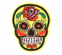 Antsiuvas medžiaginis Yellow Skull, 7.5x5.5cm