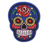 Antsiuvas medžiaginis Skull Blue; 7.5x5.5cm
