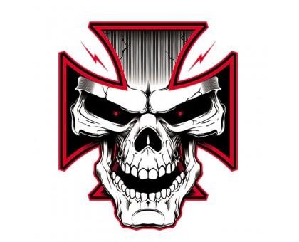 Termo lipdukas Cross Red Skull, 9x10cm