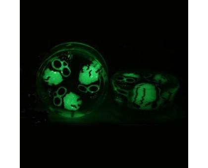 Auskarai tuneliai Acryl 3D Skull Night, 2vnt; 8mm, 10mm, 12mm, 14mm