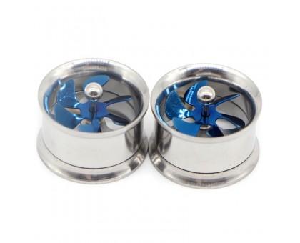 Auskarai tuneliai Propeller Blue Silver, 2vnt; 8mm, 10mm, 12mm
