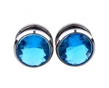 Auskarai tuneliai Diamond Blue, 2vnt; 6mm, 8mm, 10mm, 12mm, 14mm, 16mm