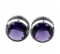 Auskarai tuneliai Diamond Purple, 2vnt; 6mm, 8mm, 10mm, 12mm, 14mm, 16mm