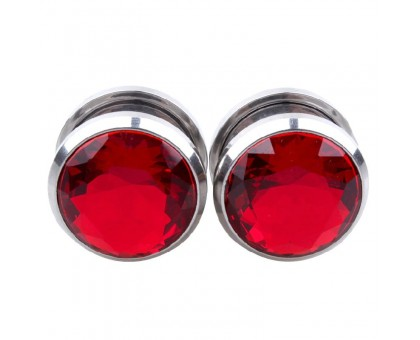 Auskarai tuneliai Diamond Red, 2vnt; 6mm, 8mm, 10mm, 12mm, 14mm, 16mm