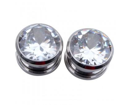 Auskarai tuneliai Diamond White, 2vnt; 6mm, 8mm, 10mm, 12mm, 14mm, 16mm