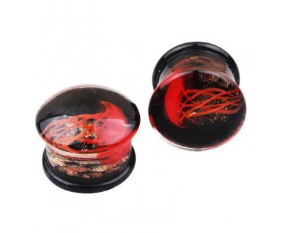Auskarai tuneliai Acryl 3D Red Jellyfish, 2vnt; 8mm, 10mm, 12mm, 14mm, 16mm