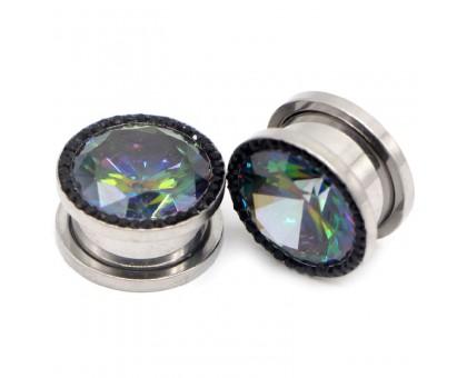 Auskarai tuneliai Diamond Black Rainbow, 2vnt; 8mm, 10mm, 12mm, 14mm
