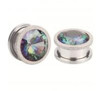 Auskarai tuneliai Diamond White Rainbow, 2vnt; 8mm, 10mm, 12mm, 14mm
