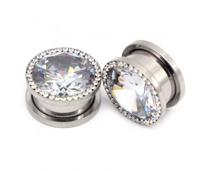 Auskarai tuneliai Diamond White Plus, 2vnt; 8mm, 10mm, 12mm, 14mm