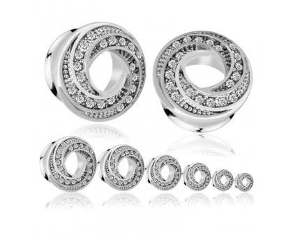 Auskarai tuneliai Donut Silver, 2vnt; 6mm, 8mm, 10mm, 12mm, 14mm