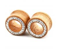 Auskarai tuneliai mediniai Wood Classic Diamond, 2 vnt; 8mm, 10mm, 12mm, 14mm, 16mm