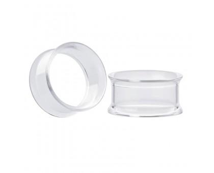 Auskarai tuneliai Transparent Acryl, 2vnt; 6mm, 8mm, 10mm, 12mm, 14mm, 16mm, 18mm
