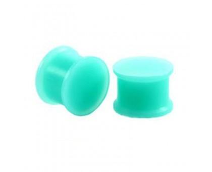 Auskarai tuneliai silikoniniai kamščiai Turquoise Plug, 2vnt; 4mm, 6mm, 8mm, 10mm, 14mm