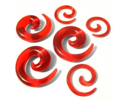 Auskarai spiraliniai tuneliai sraigės Red Snail, 2vnt; 2mm, 3mm, 4mm, 5mm, 6mm, 8mm