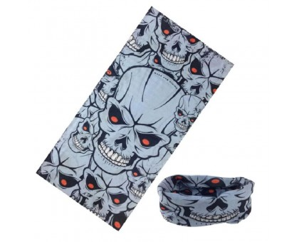 Bandana kaklaskarė Pilka Kaukolė, universalaus dydžio