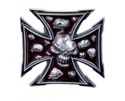 Sagtis diržui Iron Skull Cross, 7.5x7.5cm