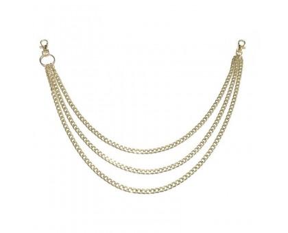 Kelnių grandinė Triple Gold Chain aukso spalvos, 50/55/60cm