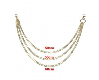 Kelnių grandinė Triple Gold Chain aukso spalvos; 50/55/60cm