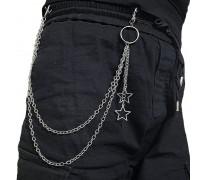 Kelnių grandinė Double Star sidabro spalvos; 45/55cm