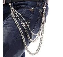 Kelnių grandinė Triple Skull Chain sidabro spalvos, 40/50/60cm