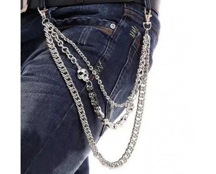 Kelnių grandinė Triple Skull Chain sidabro spalvos; 40/50/60cm