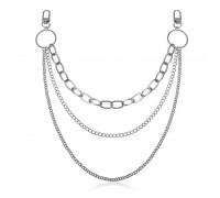 Kelnių grandinė Triple Size Chain sidabro spalvos, 30/36/48cm