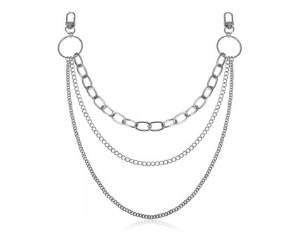 Kelnių grandinė Triple Size Chain sidabro spalvos; 30/36/48cm