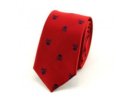 Kaklaraištis Skull Red Blue