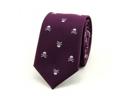 Kaklaraištis Skull Violet White