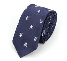 Kaklaraištis Skull Dark Blue White
