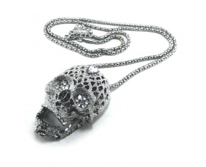 Kaklo papuošalas 3D Skull balto sidabro spalvos, 5.5x4cm