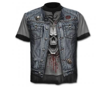 Marškinėliai trumpomis rankovėmis Džinsinė liemenė; M