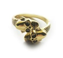 Žiedas Two Skulls aukso spalvos, universalaus dydžio